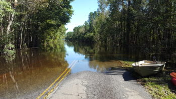 Flooding of the Waccamaw River at Pitch Landing SC thanks to Hurricane Matthew. | Laila Johnston