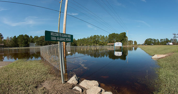 Alamac Community Park near Lumberton, NC, remains inundated with flood waters on Oct. 16, 2016 thanks to Hurricane Matthew.   U.S. Department of Agriculture
