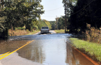 Flooded roads in Andrews, South Carolina, thanks to   North Carolina National Guard