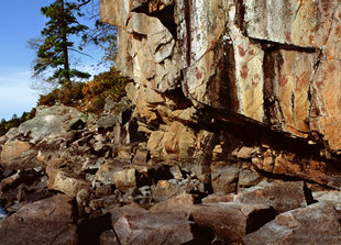La Croix pictographs on a cliff along the Boundary Waters. | Jim Bradenburg