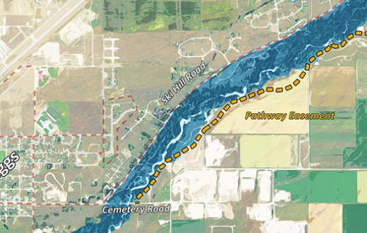 The dashed line shows the proposed route of the Teton Creek Corridor Pathway. | Credit: http://www.tetoncreekcorridor.org/