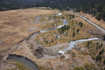 Drone aerial photo of the Hope Valley restoration project. | Daniel Nylen