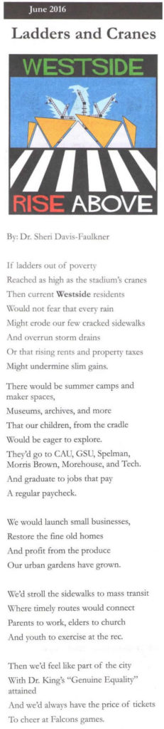 Dr. Sheri Davis-Faulkner poem published in the Historic Westside News in June 2016.