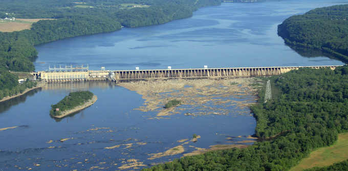 Looking upstream towards the Conowingo Dam on the Susquehanna River. Maryland is on the left and Pennsylvania is on the right