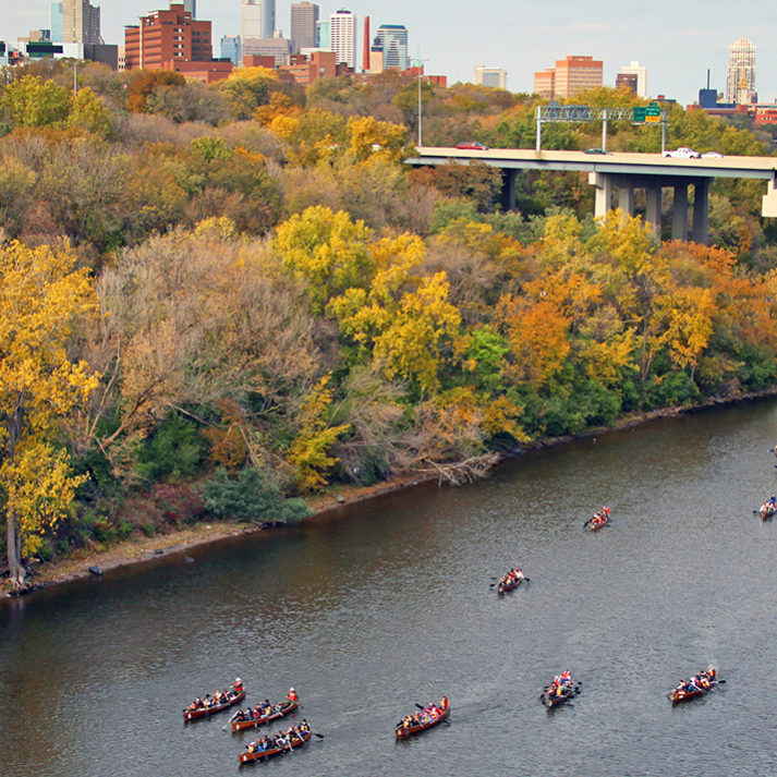 Canoeing through the heart of the Twin Cities on the Mississippi. | Photo: Greg Lais