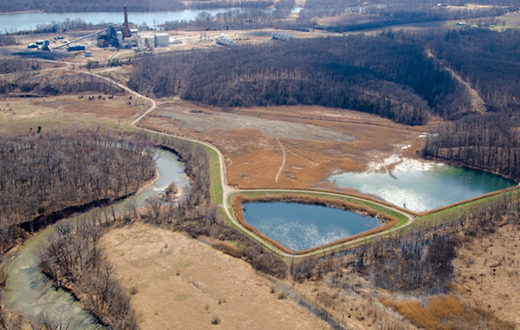 Three coal ash pits sit adjacent to the Middle Fork of the Vermilion River, IL.   Jeff Lucas, Gutting the Heartland