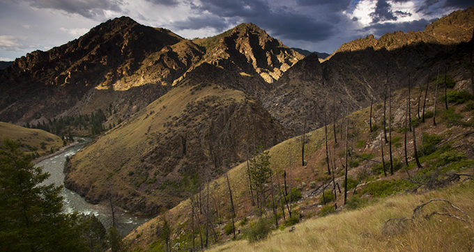 Middle Fork of the Salmon river, one of the original 8 Wild and Scenic Rivers. Runs north from near Stanley to near Salmon,Idaho. Drops 3000 feet in the 100 miles it runs. Looking north along trail to Johnson Pt. | Michael Melford