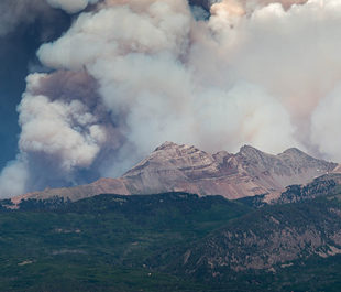 Smoke can be seen coming from the 416 fire in San Juan National Forest, Durango, CO, on June 9th, 2018. | Dom Paulo [Flickr CC]