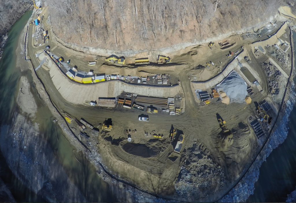Drone shot of the Bloede Dam worksite