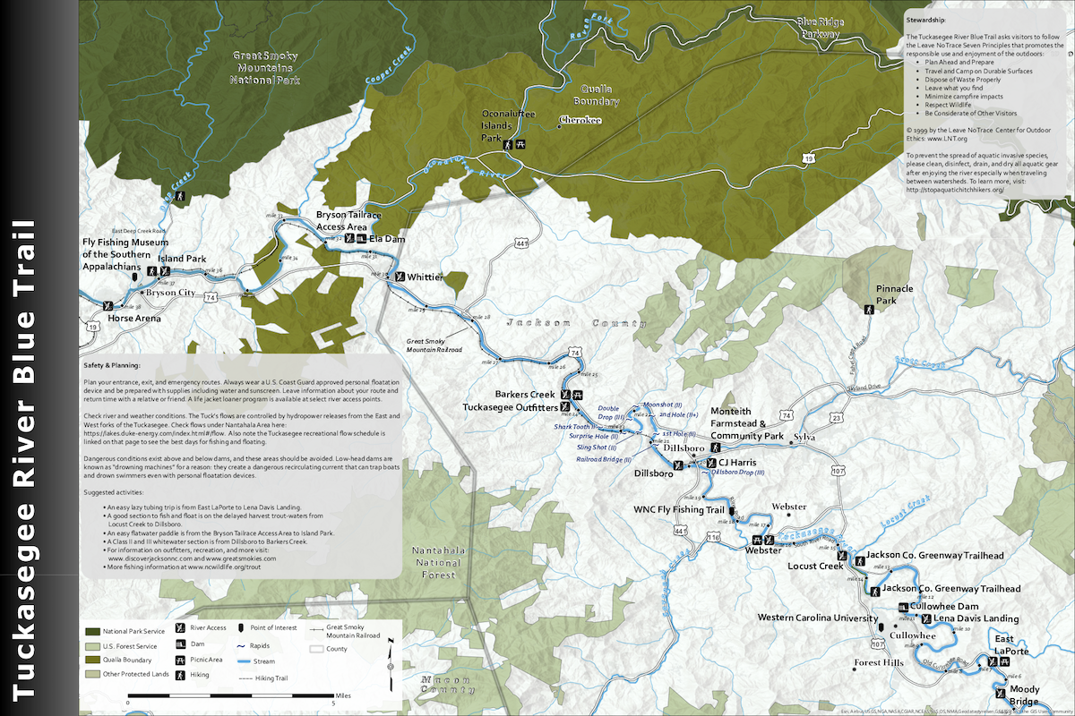 Tuckasegee Blue Trails Map, side 1