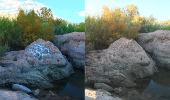 Graffiti Removal Project on the Lower Salt River and Saguaro Lake | Nicole and Justin Corey