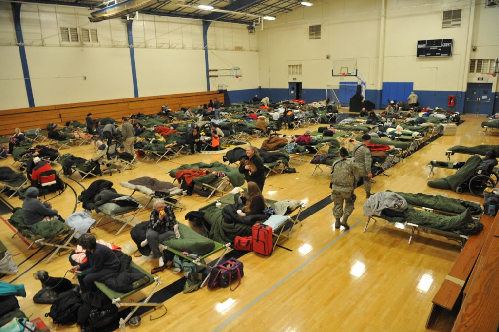 Evacuees affected by the Oroville spillway evacuation notice at Beale Air Force Base | Photo by U.S. Air Force Photo/Airman Tristan D. Viglianco