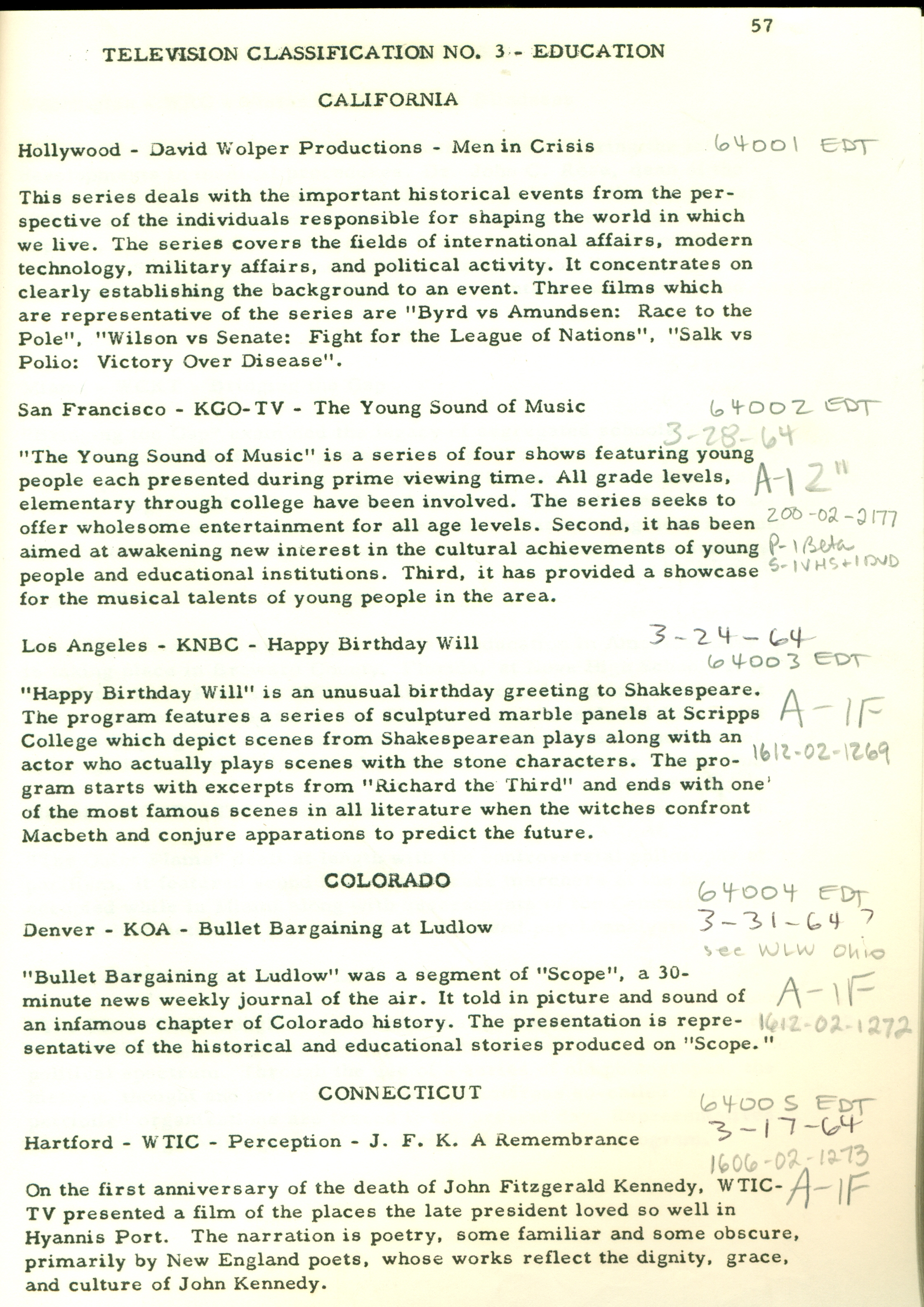 Example of Peabody Awards entry digest, Education category, 1964, George Foster Peabody Awards records, ms3000, Hargrett Rare Book and Manuscript Library, University of Georgia Libraries.