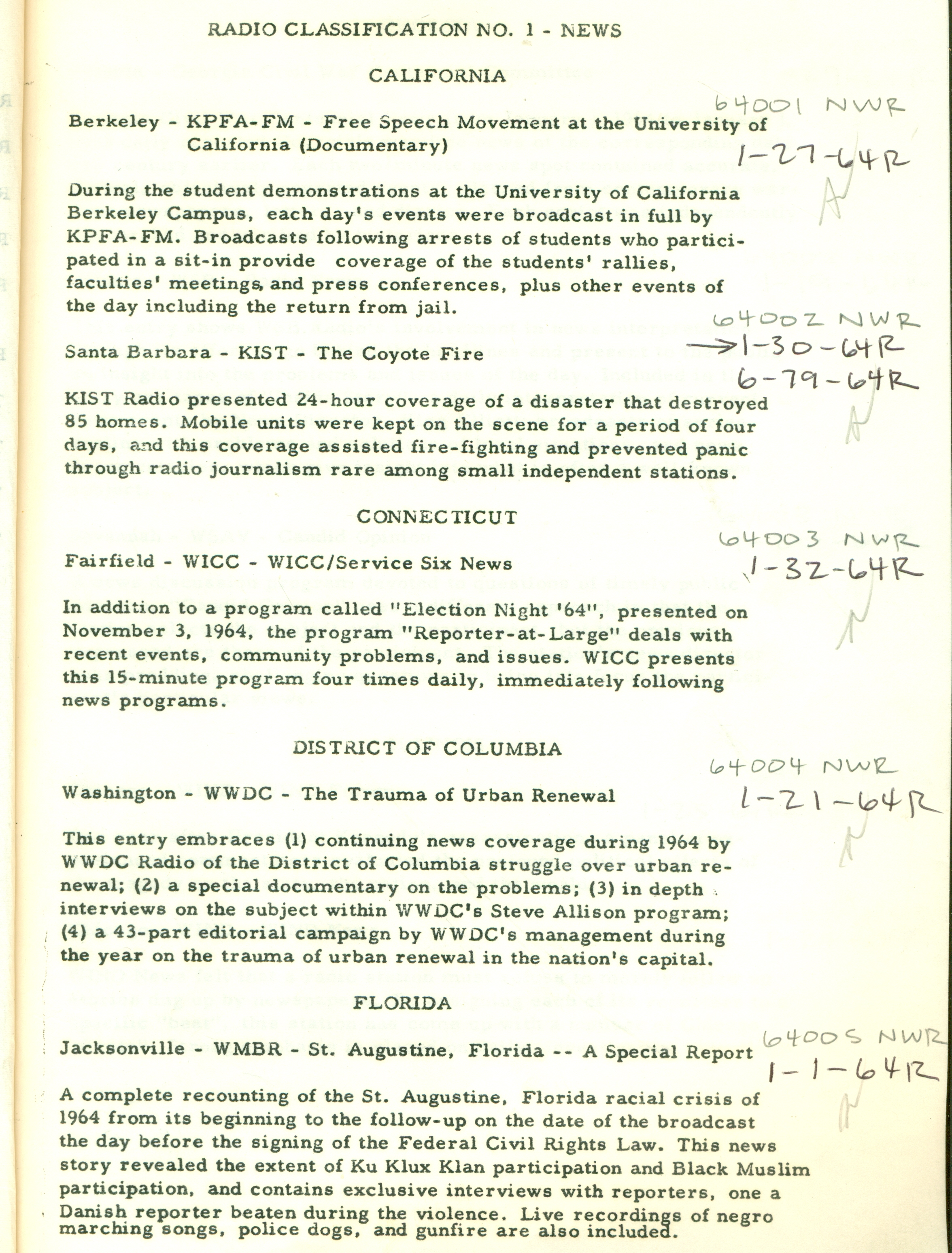 Example of Peabody Awards entry digest, News category, 1964, George Foster Peabody Awards records, ms3000, Hargrett Rare Book and Manuscript Library, University of Georgia Libraries.