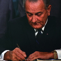 LBJ signing Public Broadcasting Act