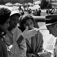 Thomas J. O'Halloran, photographer. Alabama State College students speak with a reporter the day of a demonstration against segregation following the arrest of nine student sit-in leaders, Montgomery, Alabama, March 10, 1960. U.S. News & World Report Magazine Photograph Collection, Prints and Photographs Division, Library of Congress.