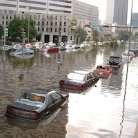 Flooded streets in New Orleans after Hurricane Katrina. Source: FEMA