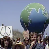 Earth First! group protests logging in 1990.