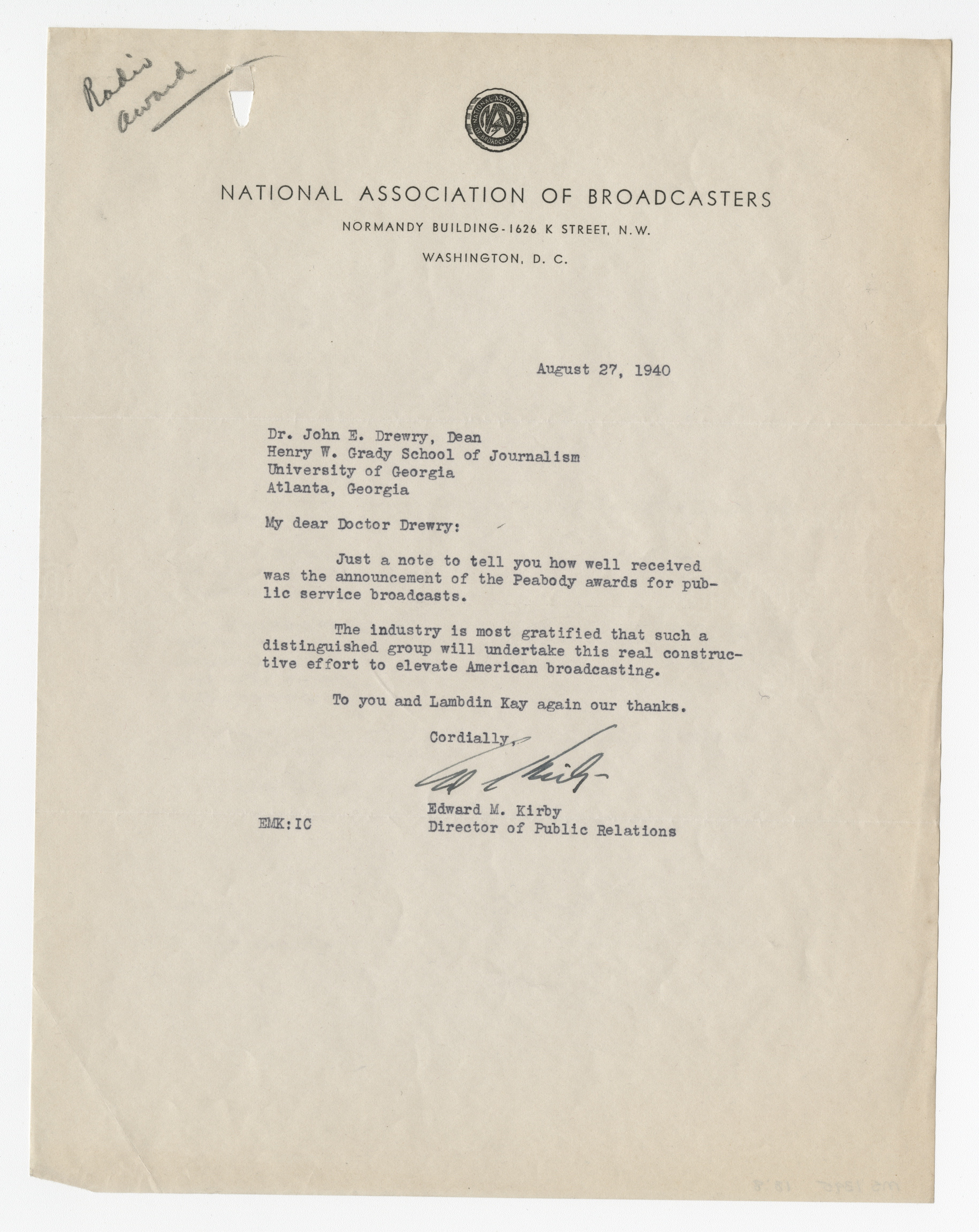 Letter from the National Association of Broadcasters to Drewry, George Foster Peabody Awards records, ms3000, Hargrett Rare Book and Manuscript Library, University of Georgia Libraries.