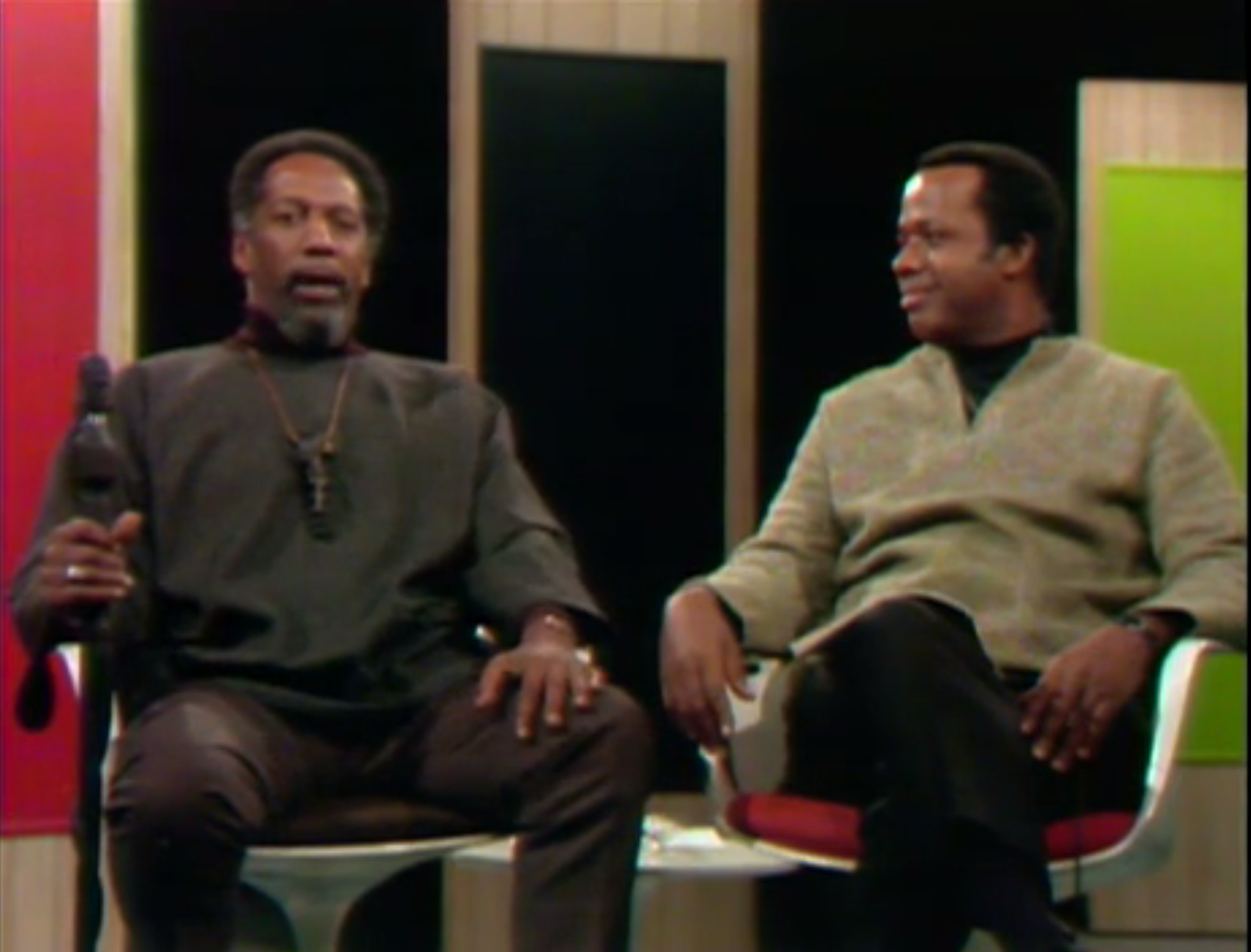Black Journal hosts William Greaves and Lou House from the Televising Black Politics in the Black Power Era exhibit.