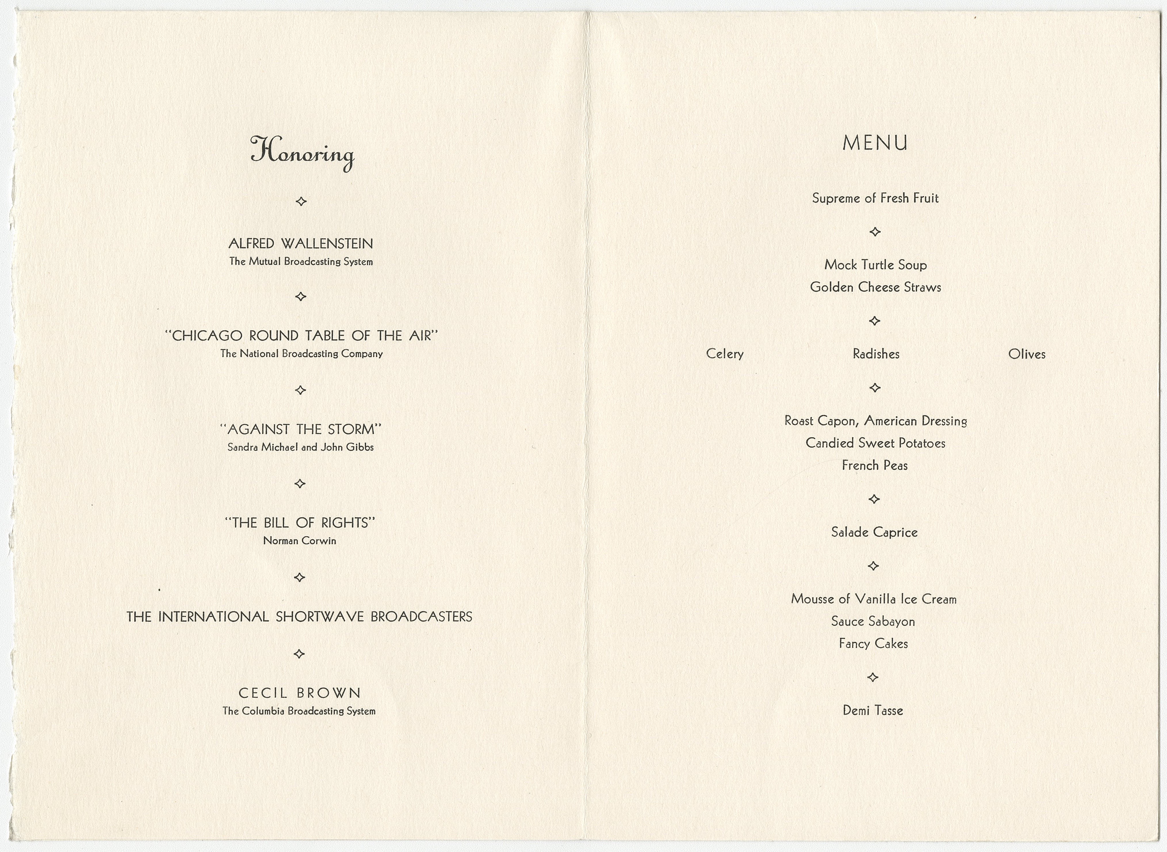 Inside of the menu for the 1942 George Foster Peabody Radio Awards Dinner, ms3000, Hargrett Rare Book and Manuscript Library, University of Georgia Libraries.
