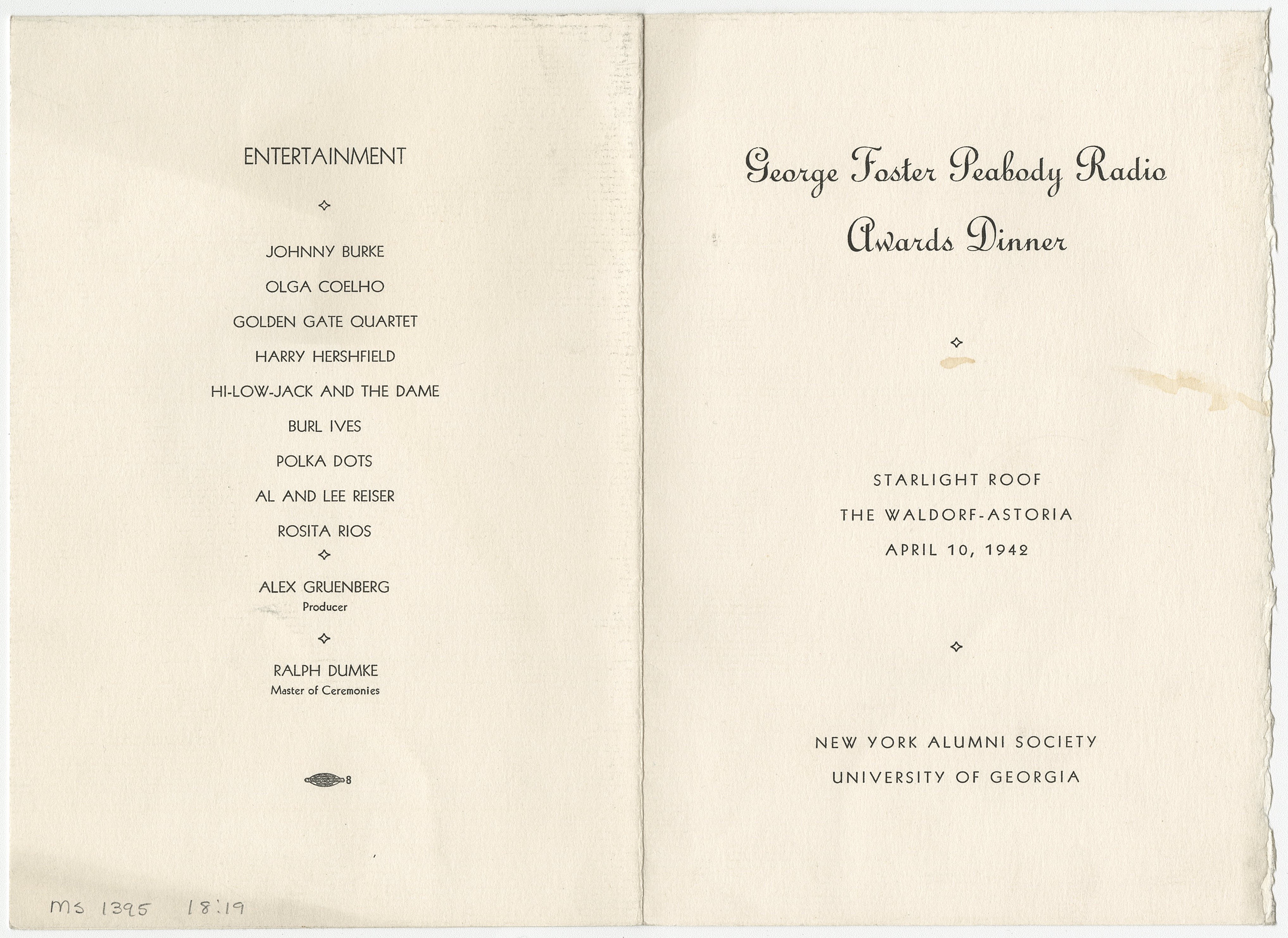 Outside of the menu for the 1942 George Foster Peabody Radio Awards Dinner, ms3000, Hargrett Rare Book and Manuscript Library, University of Georgia Libraries.