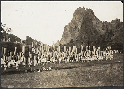 H.L. Standley, Colorado Springs, Colo. Pageant celebrating the 75th anniversary of theSeneca Falls Convention, Garden of the Gods, Colorado Springs, Colorado. Colorado Colorado Springs United States, 1923. [Sept. 23] Photograph. Retrieved from the Library of Congress.