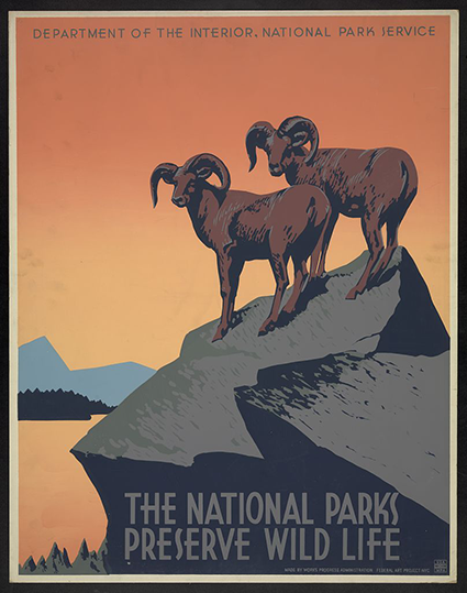 Nicholson, Frank S., Artist, and Sponsor United States National Park Service. Wild life The national parks preserve all life. None. [Nyc: nyc art project, works projects administration, between 1936 and 1940] Photograph. Retrieved from the Library of Congress.