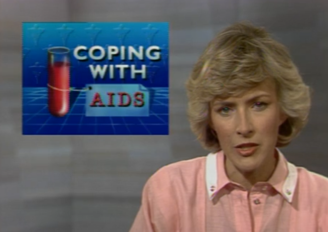 Coping With AIDS, episode headline from a 1985 episode of The MacNeil/Lehrer NewsHour.