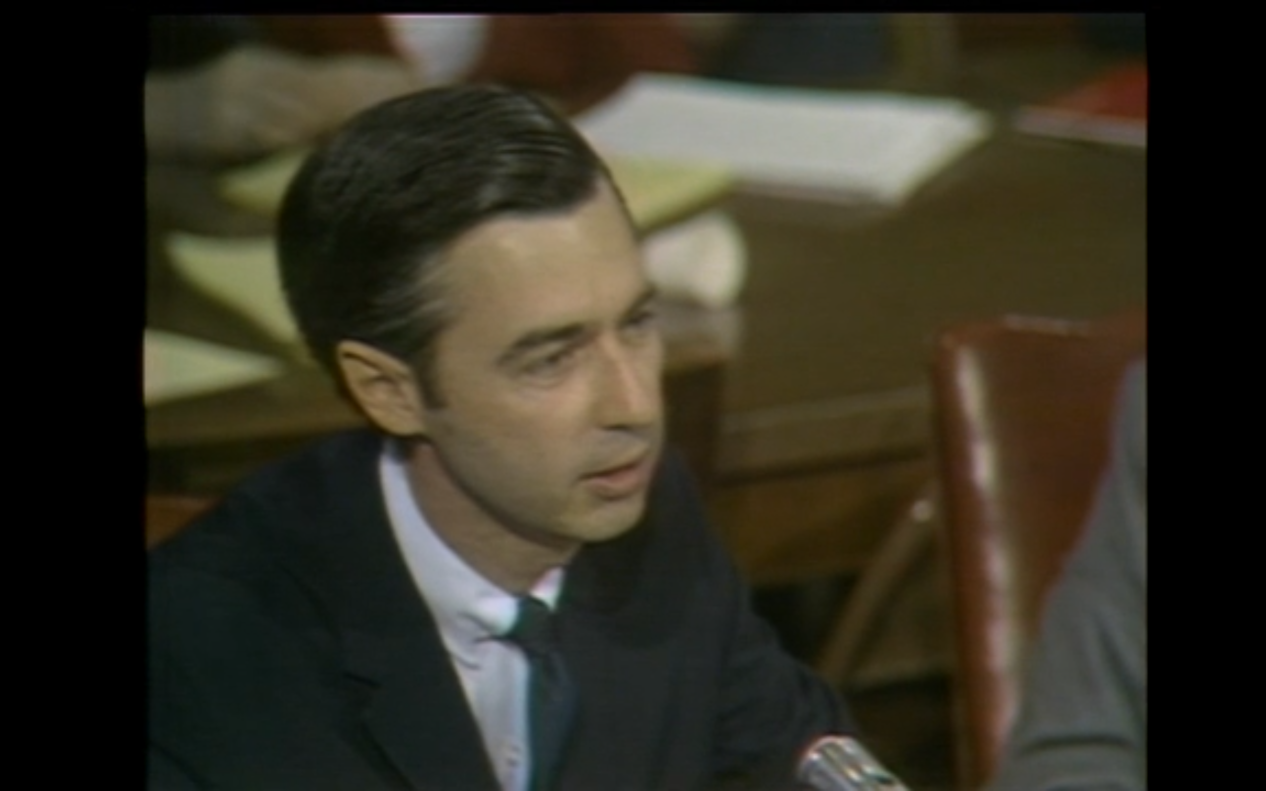 In an NET Special featuring the Public Television Hearings in 1969, Fred Rogers, star of