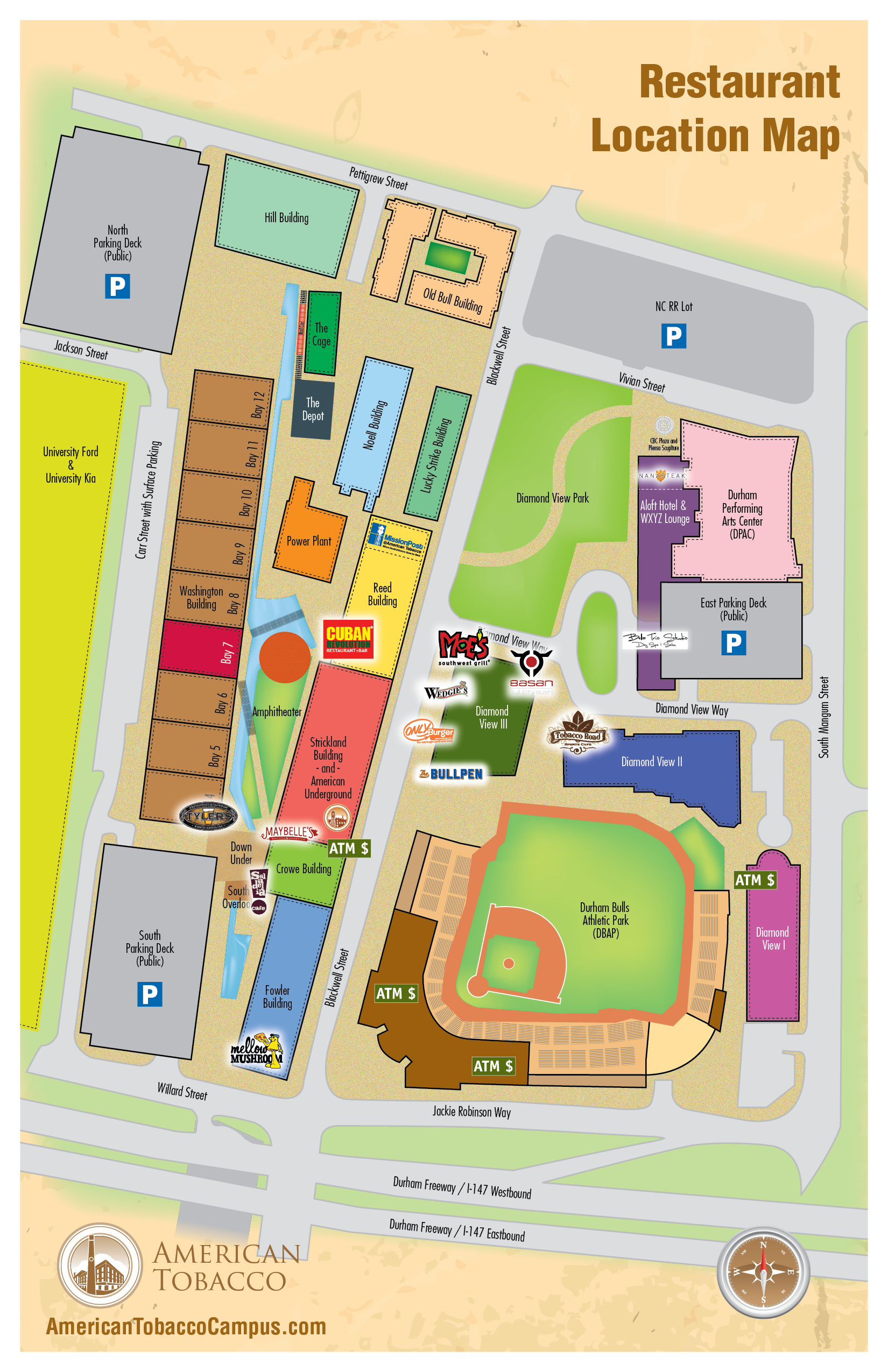 American Tobacco Campus - Us baseball map