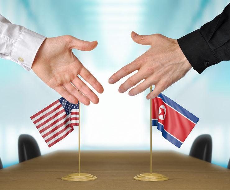 US and North Korea handshake