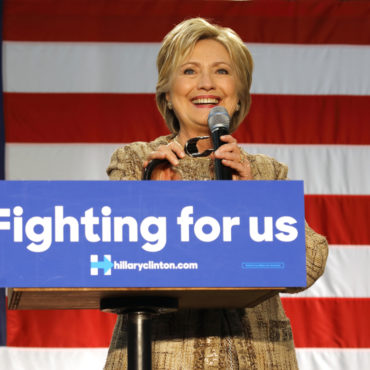 US Democratic Presidential candidate Hillary Clinton smiles while campaigning at Southwest College