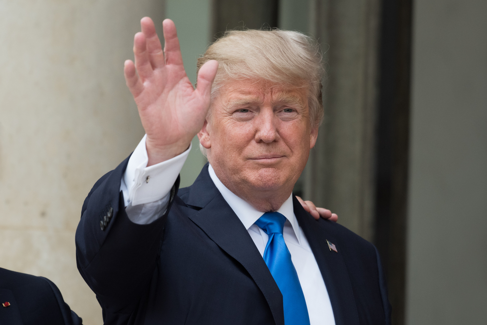 The President of United States of America Donald Trump at the Elysee Palace for an extended interview with the french President