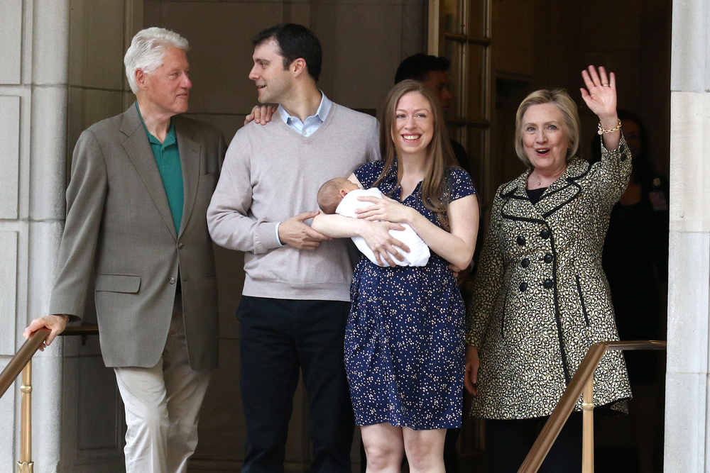 Chelsea Clinton with son Aidan, Marc Mezvinsky, Bill Clinton and Hillary Clinton are seen leaving Lenox Hill Hospital on June, 2016 in New York City