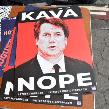 Anti Kavanaugh Sign Protesting Trump's Supreme Court Nominee in Foley Square