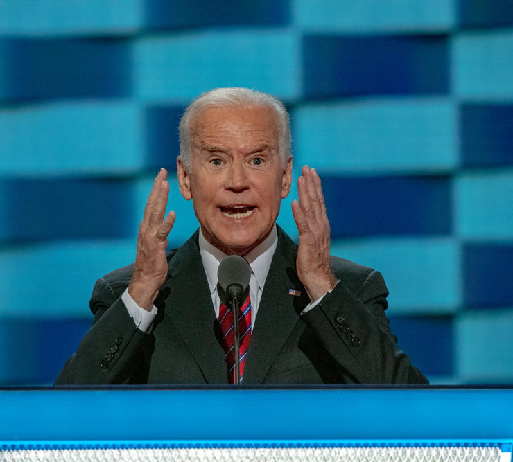 Vice President Joseph Biden delivers his speech from at the podium at the Democratic National Nominating Convention