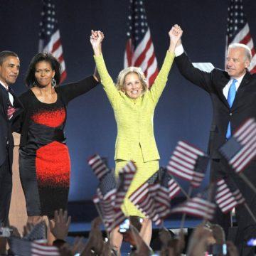 Senator Barack Obama, wife Michelle Obama, Jill Biden, Joe Biden at a public appearance for Barack Obama US Presidential Election Victory Speech and Celebration, Grant Park, Chicago