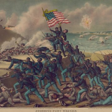 54th Massachusetts Volunteer Infantry, an African American infantry in the Union Army, assaulting Fort Wagner on July 18, 1863. - Illustration