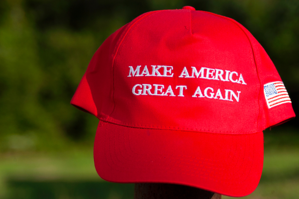 Sumrall, MS/USA-July 31, 2019 A MAGA, Make America Great Again Hat, displayed in support of President Trump's 2020 re-election bid. - Image