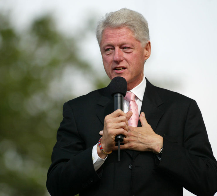 NEW YORK - JUNE 25: Former US President Bill Clinton speaks at the Greater New York Billy Graham Crusade in Flushing Meadow Corona Park June 25, 2005 in the Queens borough of New York City. - Image