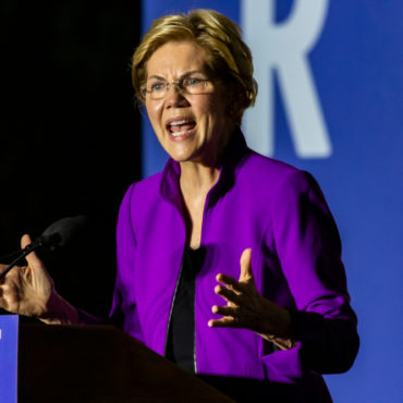 New York City - September 16, 2019: Presidential candidate Elizabeth Warren speaking at a rally in Washington Square Park. - Image