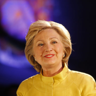 NEW YORK CITY - APRIL 9 2016: Democratic presidential candidate Hillary Clinton campaigned in Sunset Park, Brooklyn, appearing with Congressional representative Nydia Velazquez. - Image