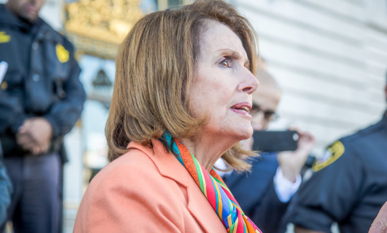 SAN FRANCISCO - JANUARY 15 2017:Nancy Pelosi, Democratic minority leader of the House of Representatives speaks to constituents after Healthcare rally at San Francisco city hall. - Image