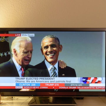 PARIS, FRANCE - NOV 9, 2016: Barack Obama and Joe Biden on tv news on Channel with the result elections in the United States where Donald J Trump has become the 45th president of USA