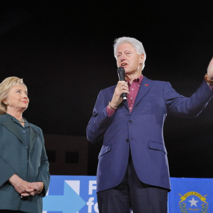 LAS VEGAS, NV - FEBRUARY 19: Democratic presidential candidate former Secretary of State Hillary Clinton and President Bill Clinton February 19, 2016 in Las Vegas, NV.