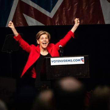 Reno, NV - June 23, 2018 - Elizabeth Warren With Hands Up In Celebration At Nevada State Democratic Convention