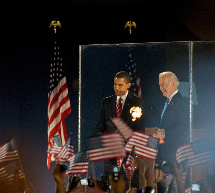 CHICAGO, IL - NOVEMBER 4: Barack Obama and Joe Biden Celebrate in Grant Park on November 4, 2008 in Chicago, IL J