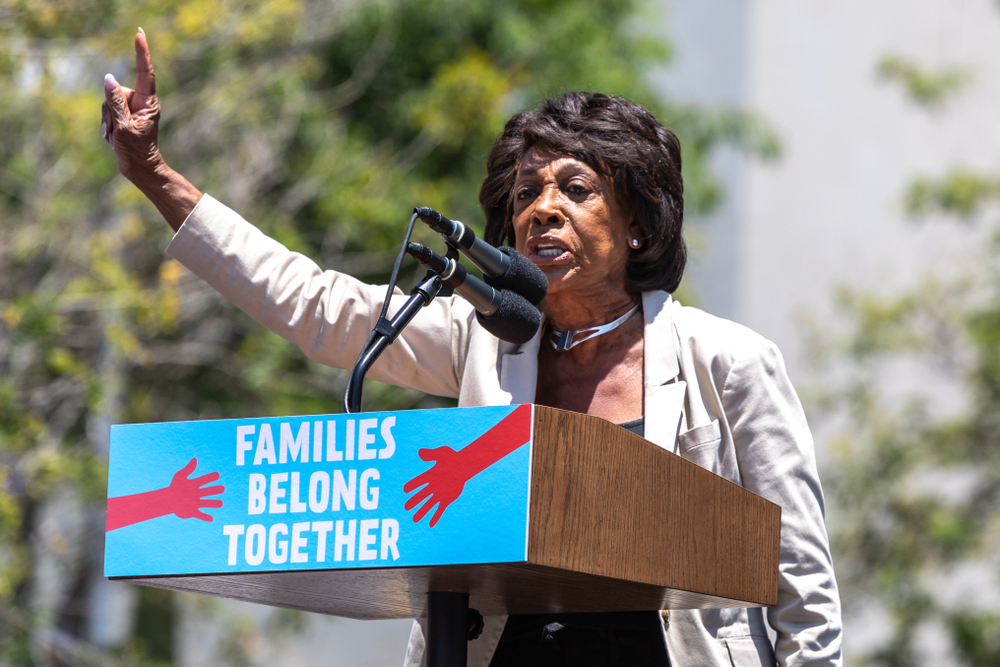 LOS ANGELES, CA - JUNE 30, 2018: US Representative Maxine Waters speaking at the Families Belong Together rally and march.