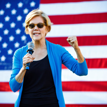 Hollis, NH - September 27, 2019: Democratic 2020 U.S. presidential candidate and Massachusetts Senator Elizabeth Warren campaigns at Lawrence Barn in Hollis, New Hampshire.